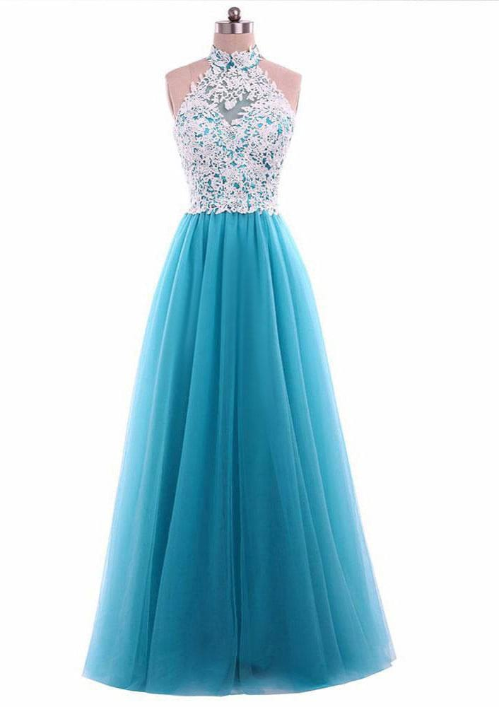 A-Line/Princess Halter Sleeveless Long/Floor-Length Tulle Prom Dress With Lace