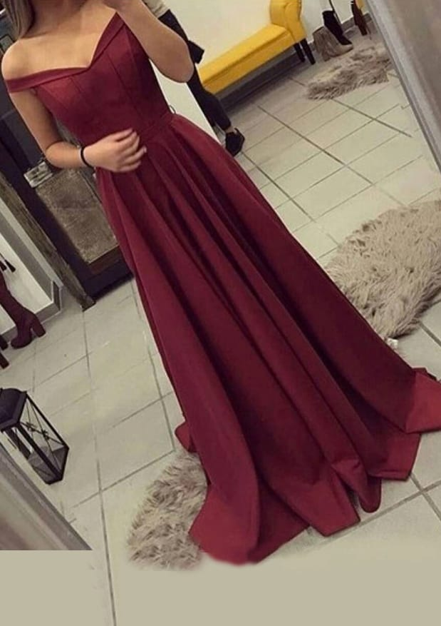 A-Line/Princess Off-The-Shoulder Sleeveless Sweep Train Elastic Satin Prom Dress With Pleated