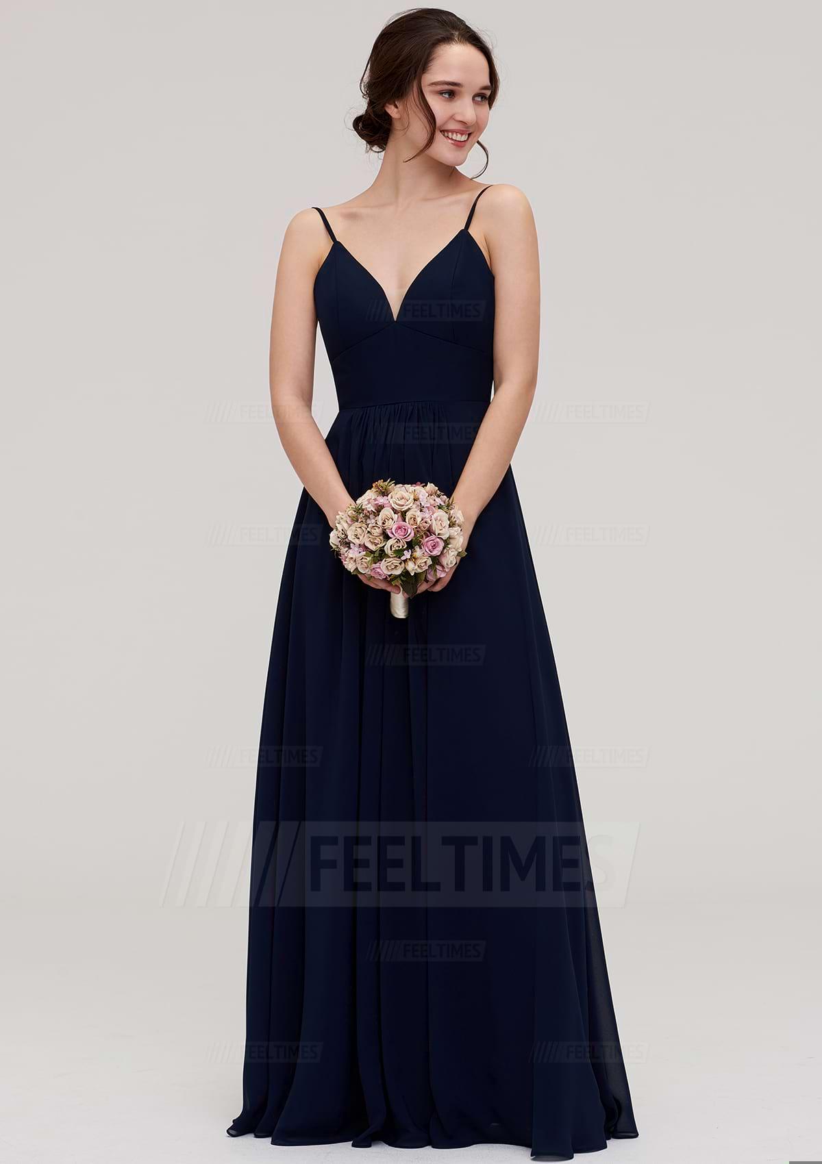 A-Line/Princess V Neck Sleeveless Long/Floor-Length Chiffon Bridesmaid Dress With Pleated