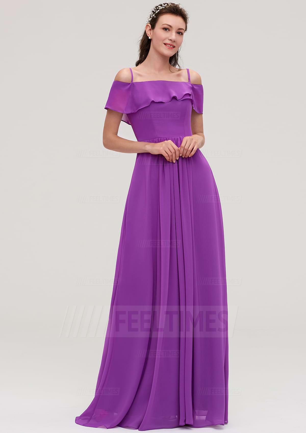A-Line/Princess Off-The-Shoulder Sleeveless Long/Floor-Length Chiffon Bridesmaid Dresses With Ruffles