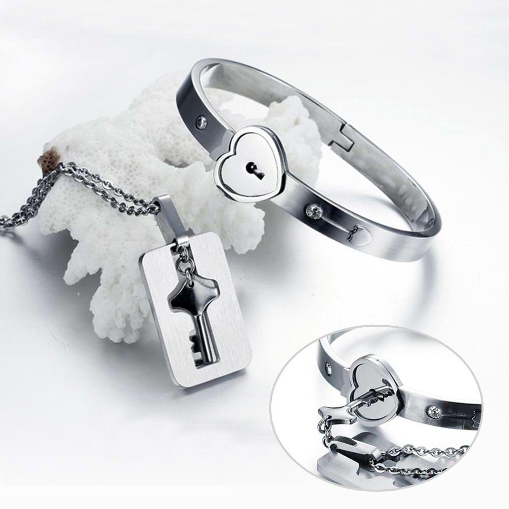 Personalized Custom Heart Lock Key Couple Jewelry Sets Necklace Bracelet