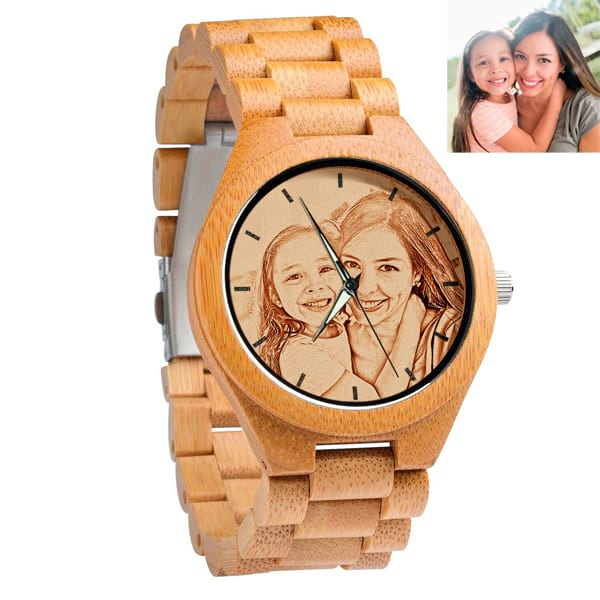 Custom Personalized Bamboo Wood Photo Engraved Watche for Mothers