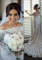 Trumpet/Mermaid Off-The-Shoulder Full/Long Sleeve Court Train Satin Wedding Dress With Appliqued Beading Lace