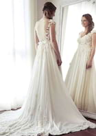A-Line/Princess V Neck Sleeveless Court Train Chiffon Wedding Dress With Appliqued Beading Lace Sashes