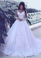 Ball Gown Bateau Full/Long Sleeve Court Train Lace Wedding Dress With Appliqued