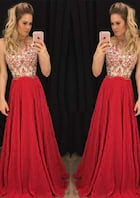 A-Line/Princess Scalloped Neck Sleeveless Sweep Train Chiffon Prom Dress With Appliqued Beading