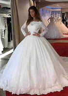 Ball Gown Off-The-Shoulder Full/Long Sleeve Chapel Train Lace Wedding Dress With Appliqued Beading