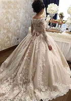 Ball Gown Scalloped Neck Full/Long Sleeve Chapel Train Lace Wedding Dress With Sashes