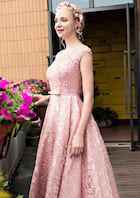 Ball Gown Bateau Sleeveless Tea-Length Lace Prom Dress With Waistband Beading Bowknot