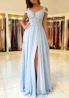 A-Line/Princess Scalloped Neck Sleeveless Sweep Train Chiffon Prom Dress With Split Appliqued