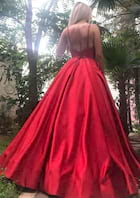 Ball Gown V Neck Sleeveless Long/Floor-Length Satin Prom Dress