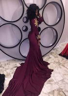 Trumpet/Mermaid High-Neck Full/Long Sleeve Chapel Train Charmeuse Prom Dress With Appliqued