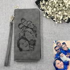 Custom Personalized Gray Leather Engraved Sketch Photo Women's Wallet