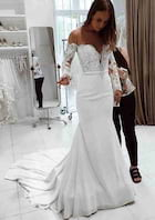 Trumpet/Mermaid Full/Long Sleeve Court Train Chiffon Wedding Dress With Lace