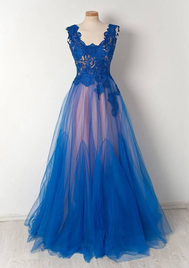 A-Line/Princess Scalloped Neck Sleeveless Long/Floor-Length Tulle Prom Dress With Lace