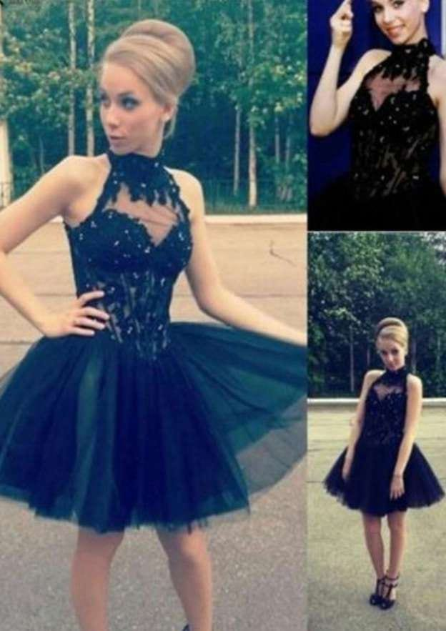 A-Line/Princess High-Neck Sleeveless Short/Mini Tulle Homecoming Dress With Beading Appliqued