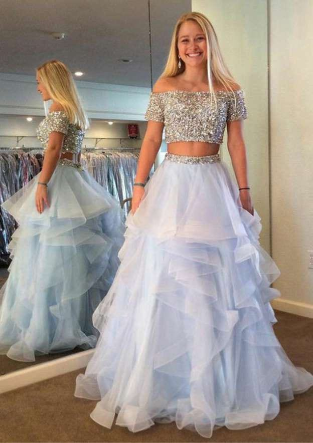 A-Line/Princess Off-The-Shoulder Short Sleeve Sweep Train Organza Prom Dress With Ruffles Beading