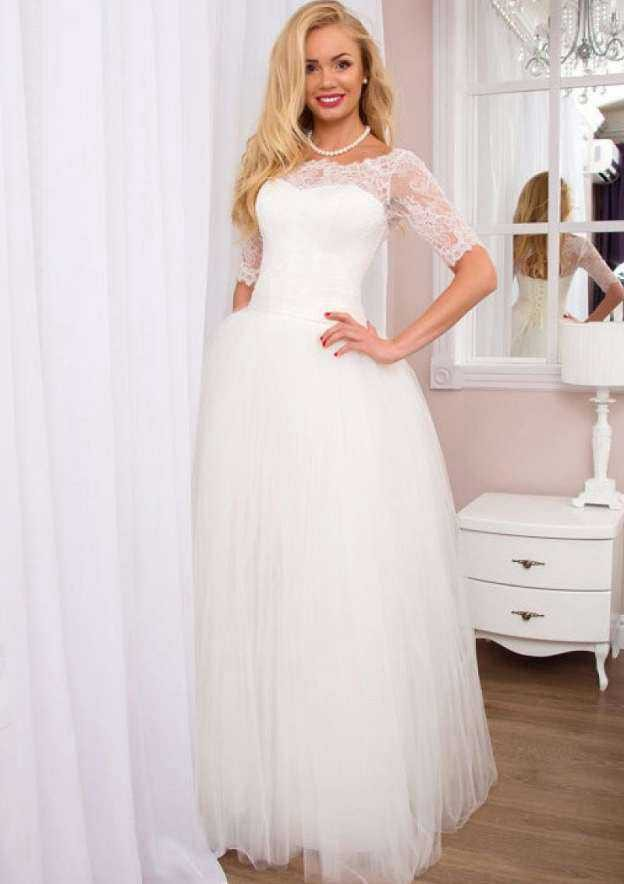 Ball Gown Scalloped Neck Half Sleeve Long/Floor-Length Tulle Wedding Dress With Lace