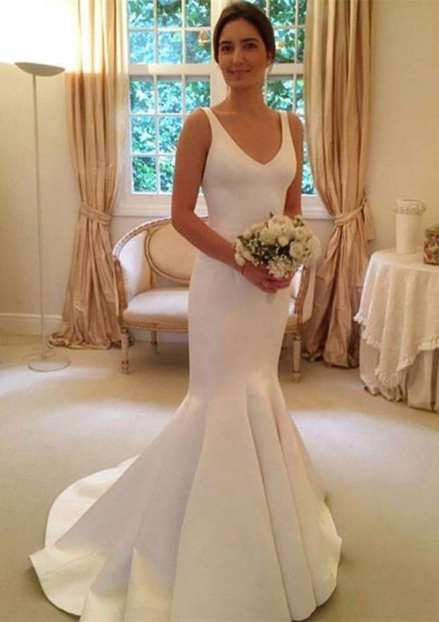 Trumpet/Mermaid V Neck Sleeveless Sweep Train Satin Wedding Dress With Bowknot