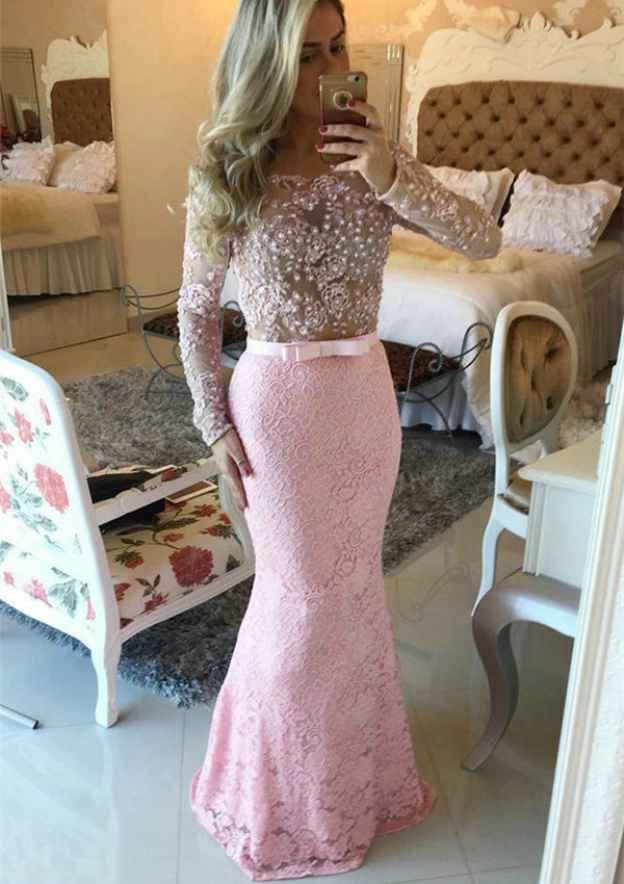 Trumpet/Mermaid Scoop Neck Full/Long Sleeve Long/Floor-Length Lace Prom Dress With Appliqued