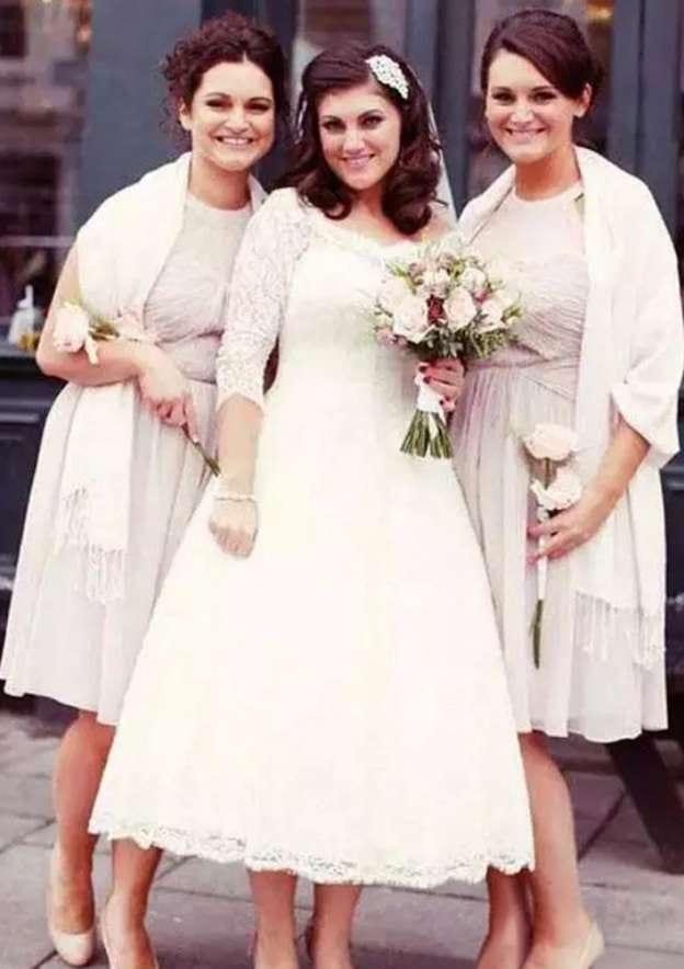 Ball Gown Scalloped Neck 3/4 Sleeve Tea-Length Lace Wedding Dress