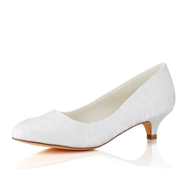 Close Toe Wedding Shoes Round Toe Kitten Heel Wedding Shoes