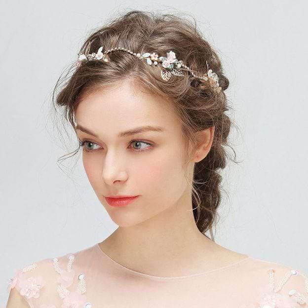 Alloy Ladies Headbands With Rhinestone Pearl Flower