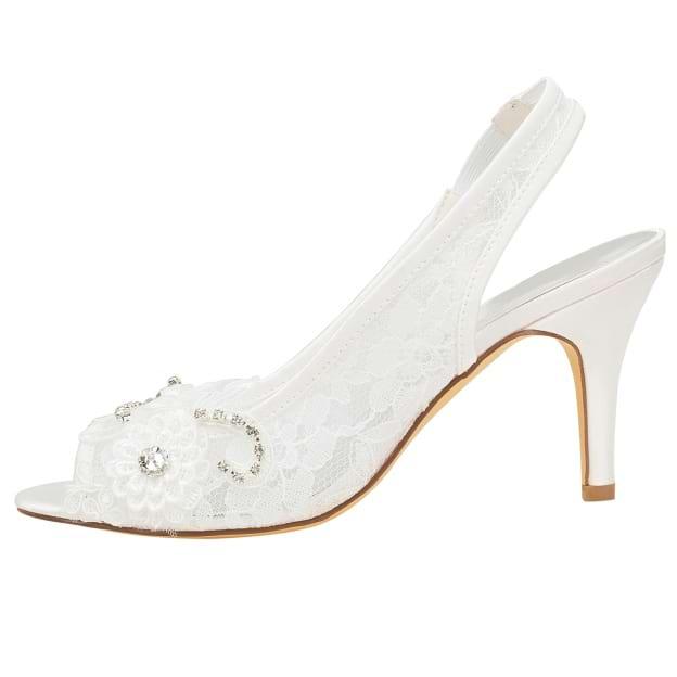 Peep Toe Slingbacks Wedding Shoes Stiletto Heel Lace Wedding Shoes With Appliqued Rhinestone