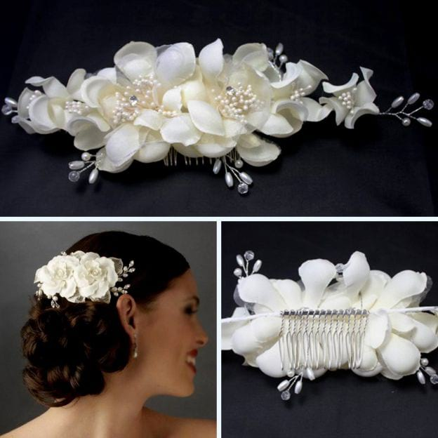 Silk Flower Ladies Hairpins With Pearl