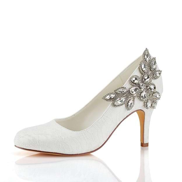 Close Toe Wedding Shoes Round Toe Stiletto Heel Lace Wedding Shoes With Crystal Rhinestone