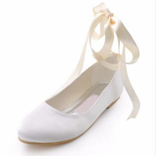 Close Toe Flats Wedding Shoes Flat Heel Satin Wedding Shoes With Ribbon Tie