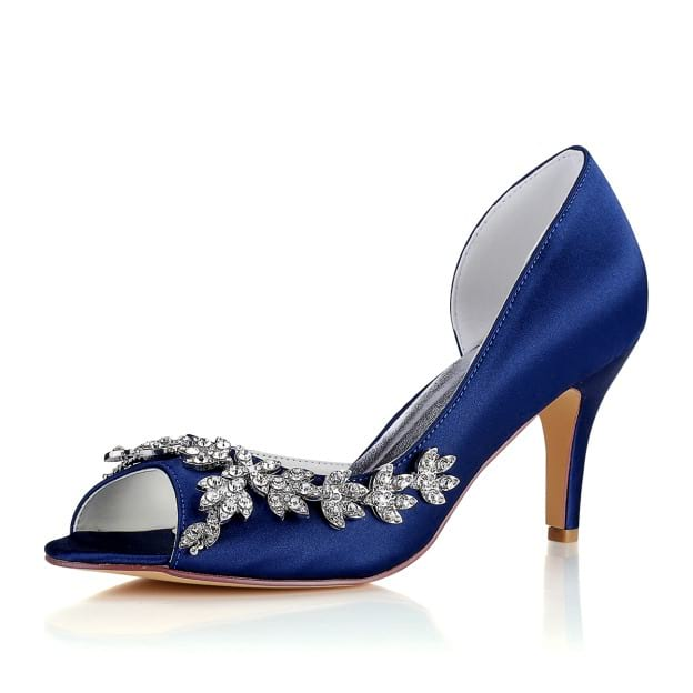 Peep Toe Pumps Stiletto Heel Satin Wedding Shoes With Rhinestone