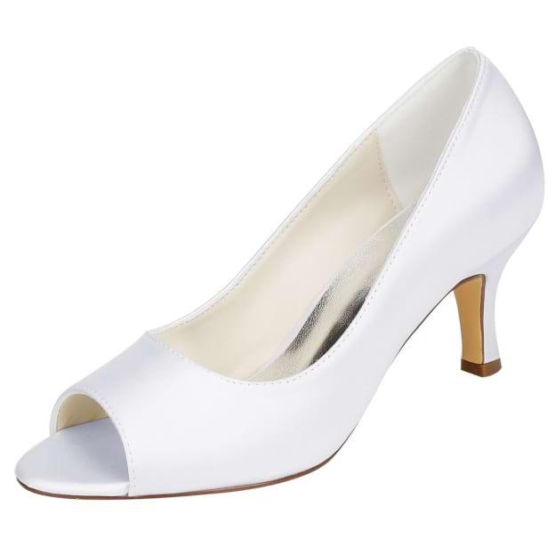 Peep Toe Stiletto Heel Charmeuse Wedding Shoes