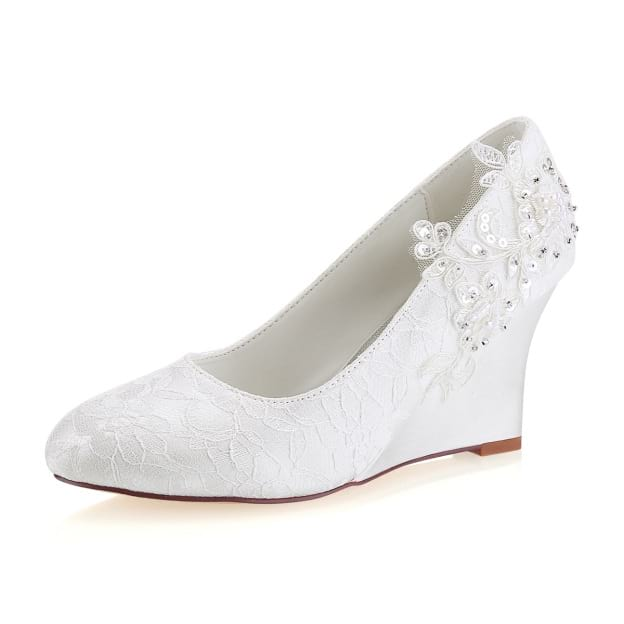 Close Toe Wedge Heel Lace Wedding Shoes With Appliqued