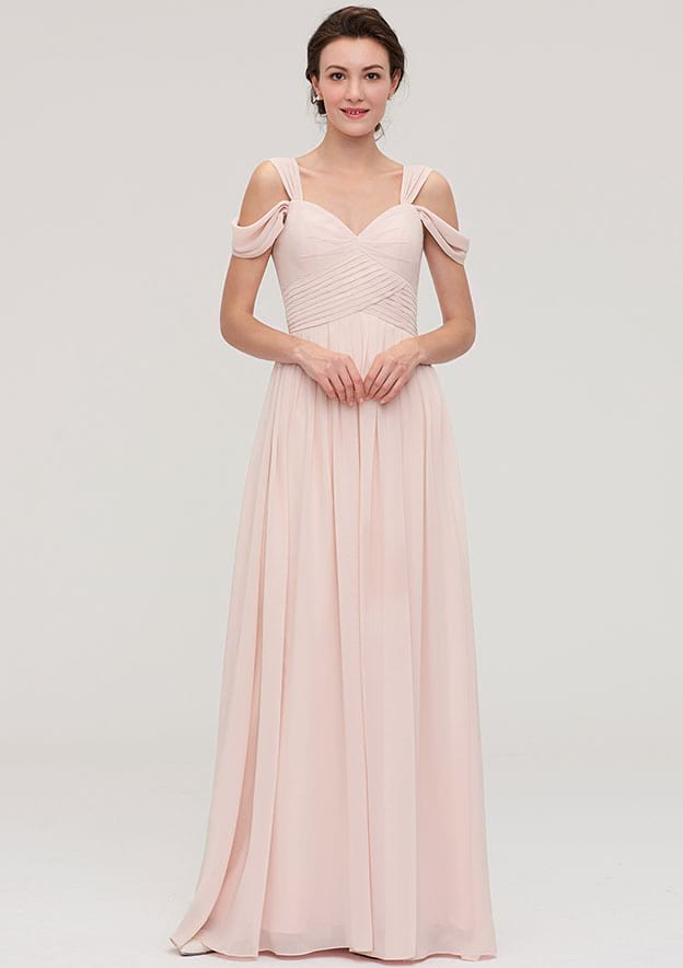 A-Line/Princess Sweetheart Sleeveless Long/Floor-Length Chiffon Bridesmaid Dress With Pleated