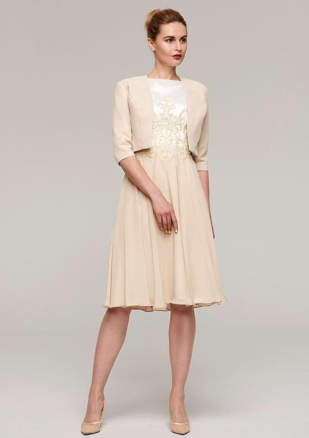 A-Line/Princess Bateau Sleeveless Knee-Length Chiffon Mother Of The Bride Dress With Appliqued Jacket
