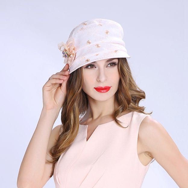 Ladies' Beautiful/Elegant Linen Baseball Caps/Tea Party Hats With Flower Diamond