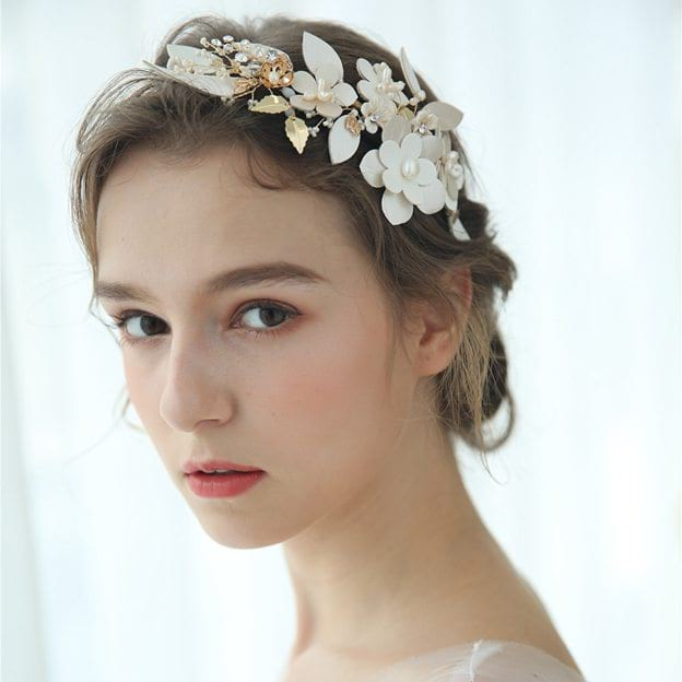 Ladies Alloy/Leatherette/Voile With Flower/Venetian Pearl/Rhinestone Tiaras