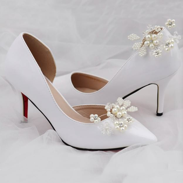 Women's Satin With Imitation Pearl Close Toe Heels Wedding Shoes
