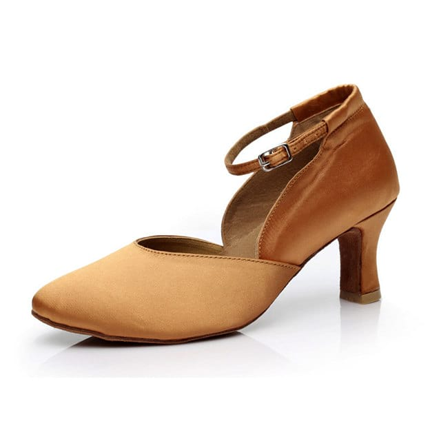 Women's Satin With Buckle Close Toe/Heels Dance Shoes