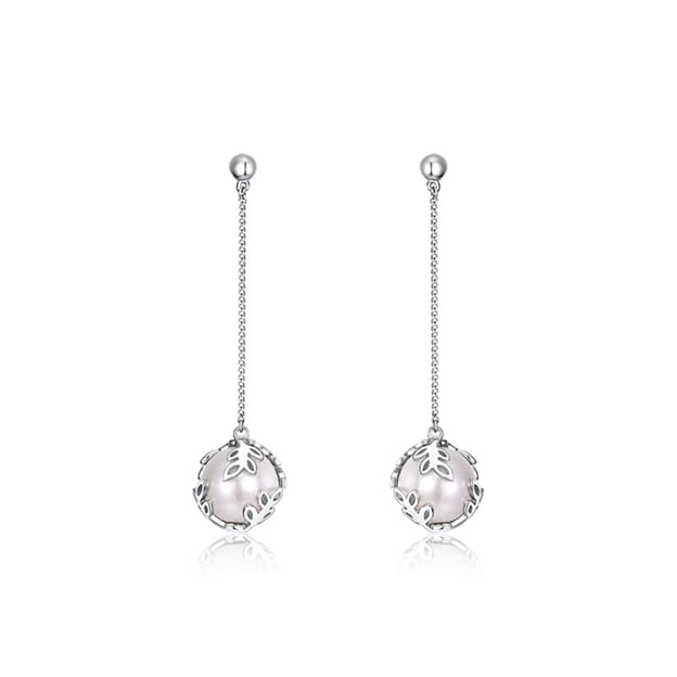 Women's Attractive 925 Sterling Silver Earrings With Imitation Pearls For Her