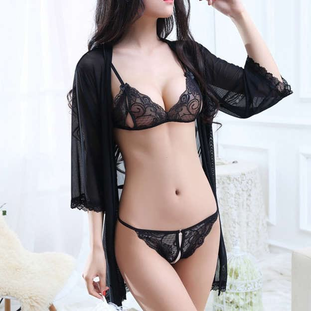 Feminine Sexy Lace Tulle Lace up Sleepwear Sets