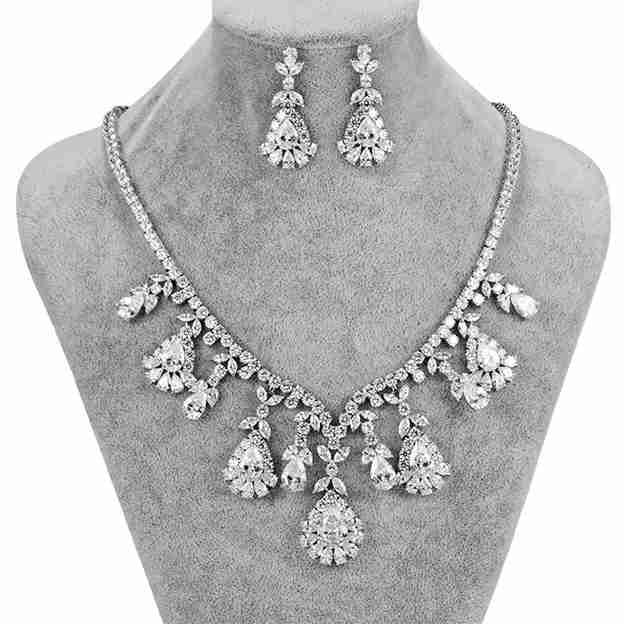 Women's Exquisite Silver Jewelry Sets With Austrian Crystal/Rhinestone For Bride
