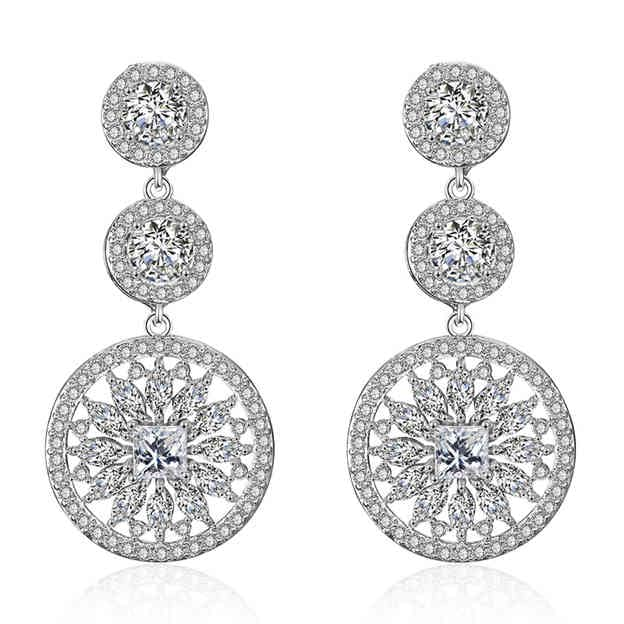 Women's Charming Silver Earrings With Rhinestone