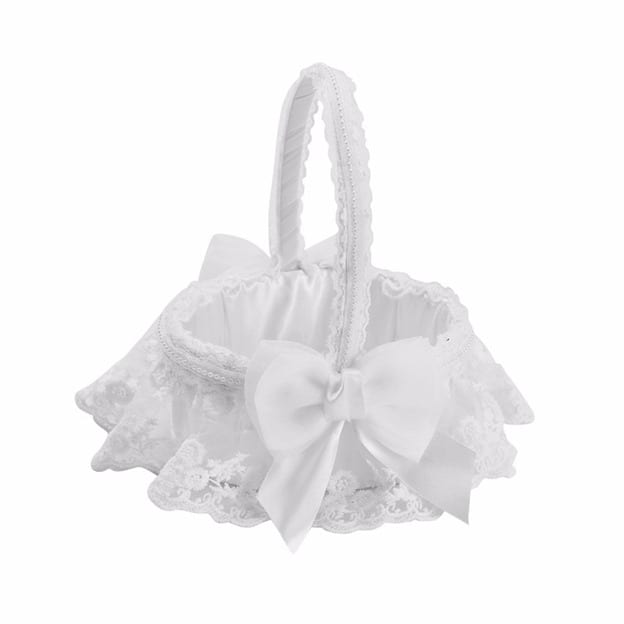 Romantic Flower Basket in Satin With Bowknot/Lace