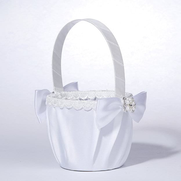 Elegant Flower Basket in Satin With Bowknot/Lace