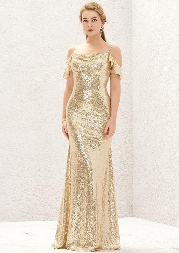 Sheath/Column Sleeveless Sweep Train Sequined Prom Dress With Pleated
