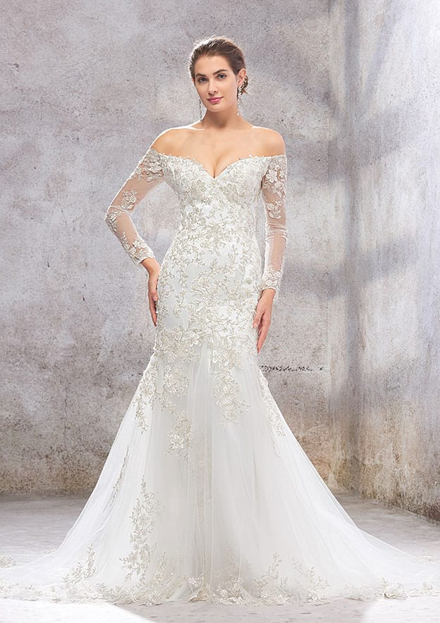Trumpet/Mermaid Full/Long Sleeve Court Train Lace/Satin Wedding Dress With Beading/Sequins
