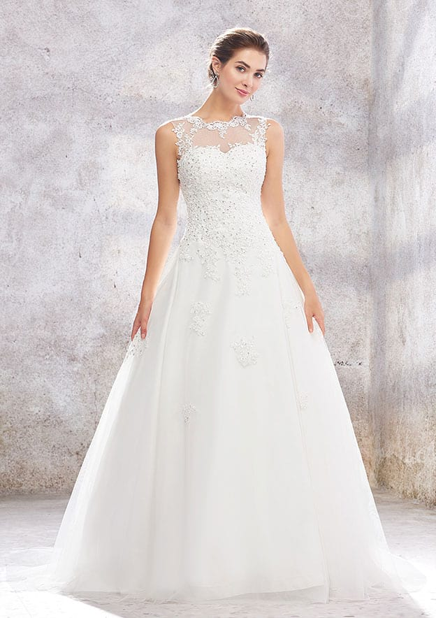 Ball Gown Sleeveless Sweep Train Tulle Wedding Dress With Appliqued/Sequins