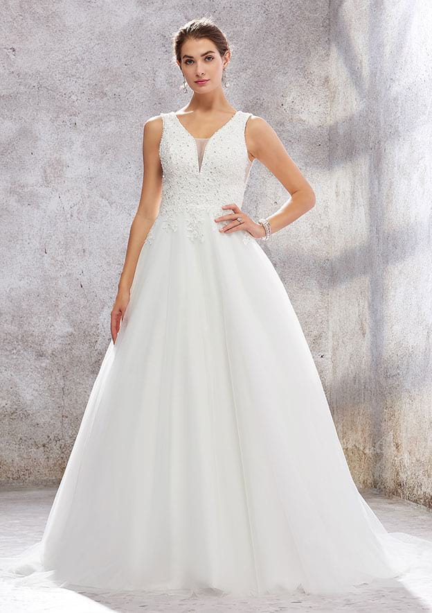 Ball Gown Sleeveless Court Train Tulle/Satin Wedding Dress With Lace/Sequins